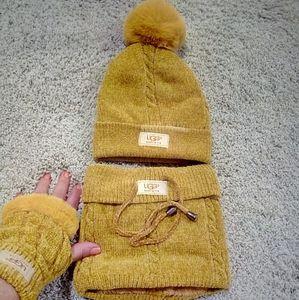 UGG golden yellow Pom-Pom hat gloves and scarf set
